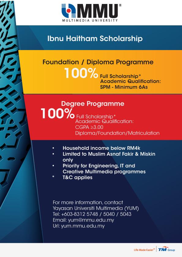Multimedia University Scholarship Financial Aid